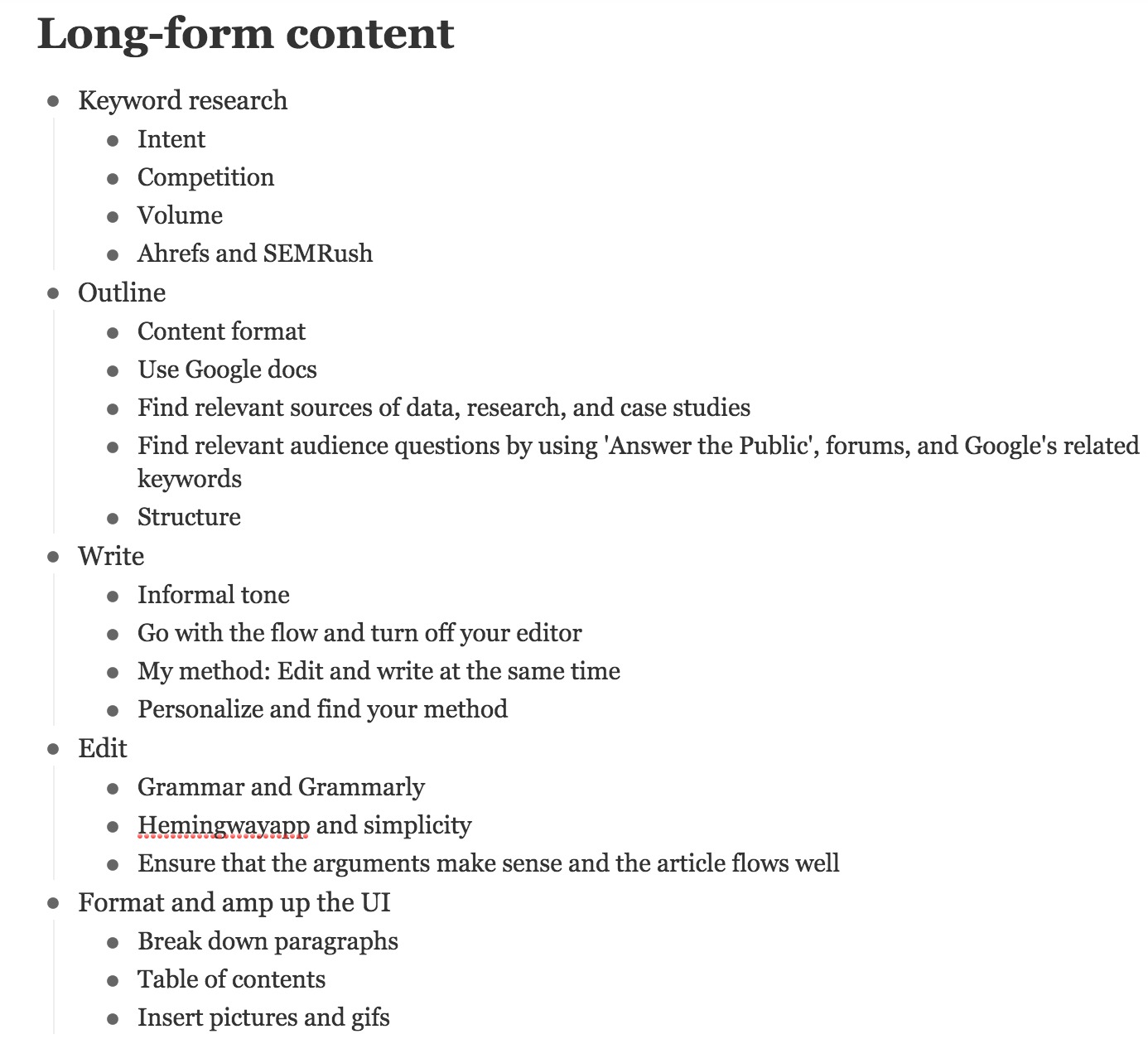 outline for long form article